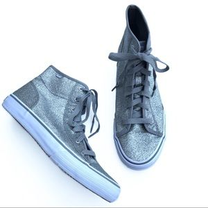 Keds + Hollister High Top Sneakers Silver Sparkle